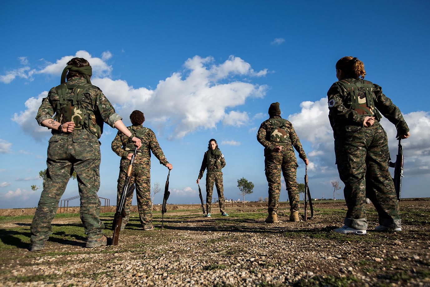 military training women unit christian syria