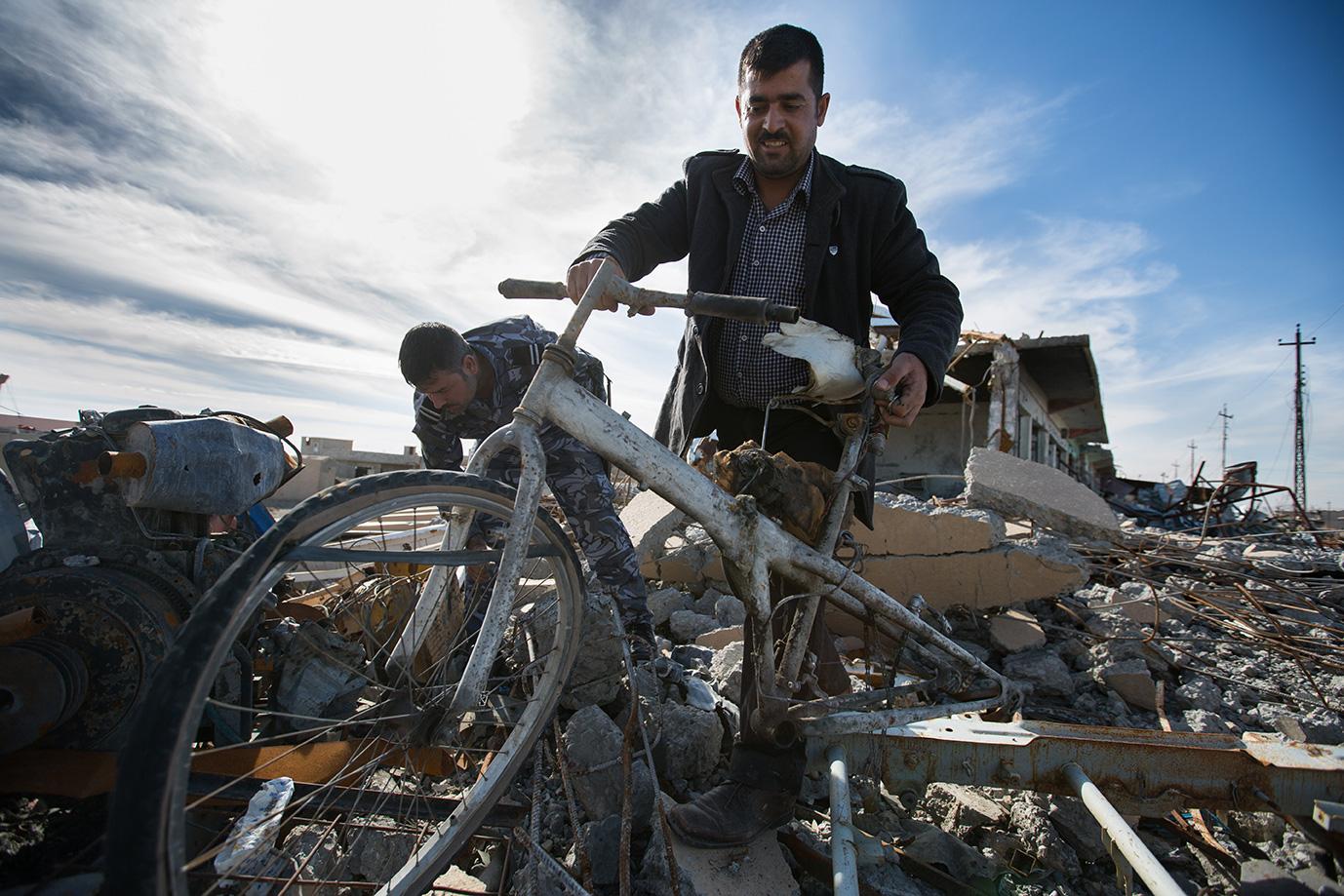 bicycle ruins sinjar iraq yesidi
