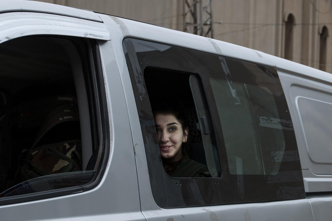 leaving frontline christian female fighter van syria hasaka