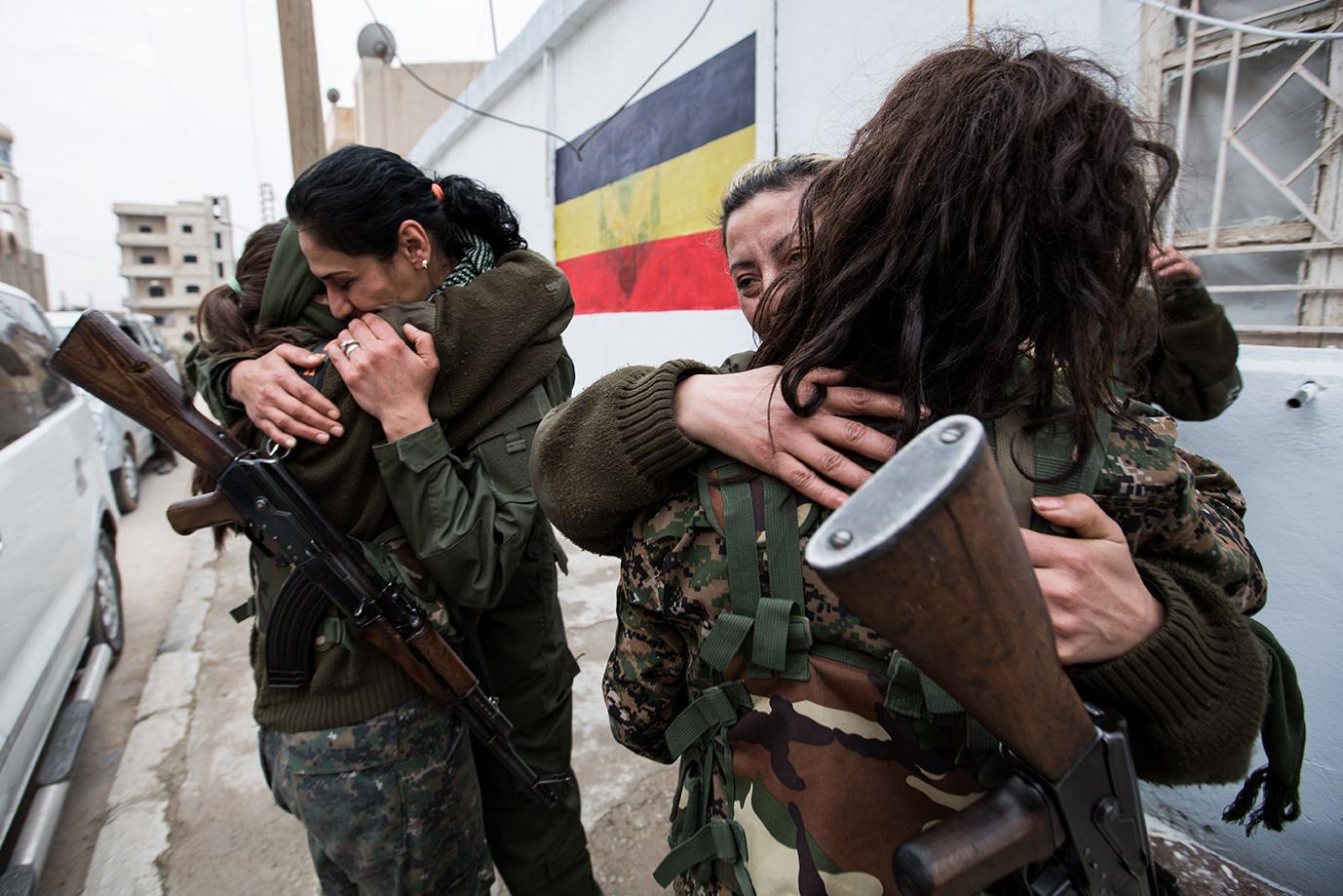 celebrating goodbuy leaving frontling female unit christian syria hasaka